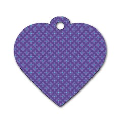 Abstract Purple Pattern Background Dog Tag Heart (One Side)