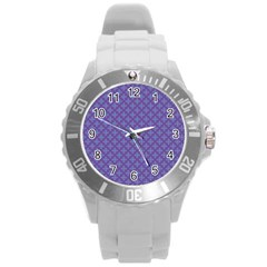 Abstract Purple Pattern Background Round Plastic Sport Watch (L)