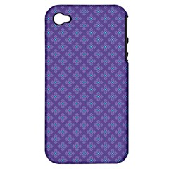 Abstract Purple Pattern Background Apple iPhone 4/4S Hardshell Case (PC+Silicone)