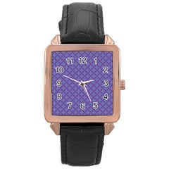 Abstract Purple Pattern Background Rose Gold Leather Watch