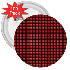 Red Plaid 3  Buttons (100 pack)