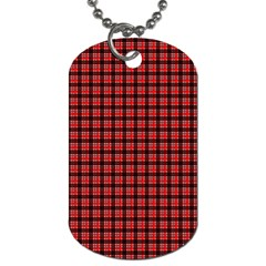 Red Plaid Dog Tag (Two Sides)