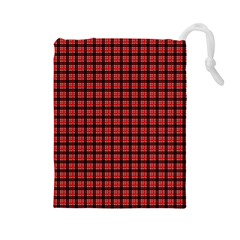 Red Plaid Drawstring Pouches (Large)