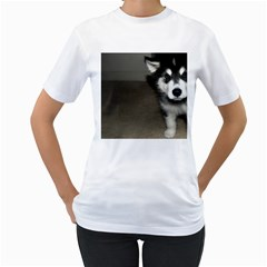 Alaskan Malamute Pup 3 Women s T-Shirt (White) (Two Sided)