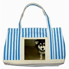 Alaskan Malamute Pup 3 Striped Blue Tote Bag