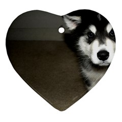 Alaskan Malamute Pup 3 Heart Ornament (Two Sides)