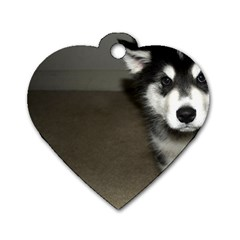 Alaskan Malamute Pup 3 Dog Tag Heart (One Side)