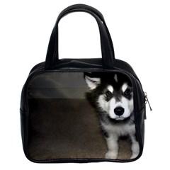 Alaskan Malamute Pup 3 Classic Handbags (2 Sides)