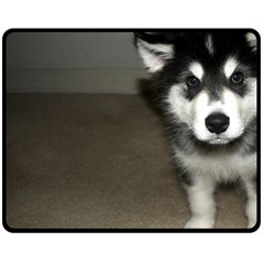 Alaskan Malamute Pup 3 Fleece Blanket (Medium)