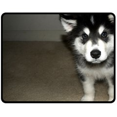 Alaskan Malamute Pup 3 Double Sided Fleece Blanket (Medium)