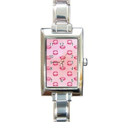 Watercolor Kisses Patterns Rectangle Italian Charm Watch