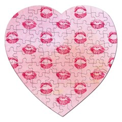 Watercolor Kisses Patterns Jigsaw Puzzle (Heart)