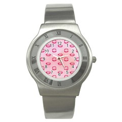 Watercolor Kisses Patterns Stainless Steel Watch