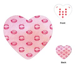 Watercolor Kisses Patterns Playing Cards (Heart)