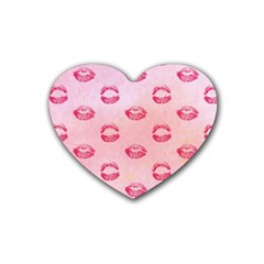 Watercolor Kisses Patterns Heart Coaster (4 pack)