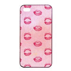 Watercolor Kisses Patterns Apple iPhone 4/4s Seamless Case (Black)