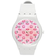 Watercolor Kisses Patterns Round Plastic Sport Watch (M)