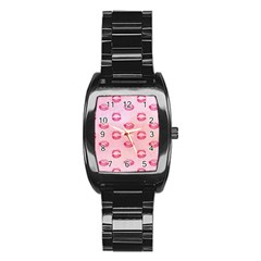 Watercolor Kisses Patterns Stainless Steel Barrel Watch