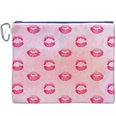 Watercolor Kisses Patterns Canvas Cosmetic Bag (XXXL)