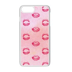 Watercolor Kisses Patterns Apple iPhone 7 Plus White Seamless Case