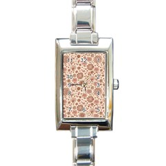 Retro Sketchy Floral Patterns Rectangle Italian Charm Watch