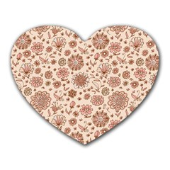 Retro Sketchy Floral Patterns Heart Mousepads