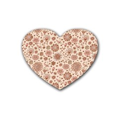 Retro Sketchy Floral Patterns Rubber Coaster (Heart)