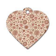 Retro Sketchy Floral Patterns Dog Tag Heart (One Side)