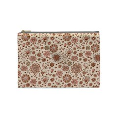 Retro Sketchy Floral Patterns Cosmetic Bag (Medium)