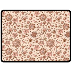 Retro Sketchy Floral Patterns Fleece Blanket (Large)