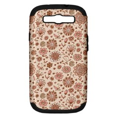 Retro Sketchy Floral Patterns Samsung Galaxy S III Hardshell Case (PC+Silicone)