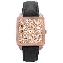 Retro Sketchy Floral Patterns Rose Gold Leather Watch