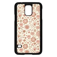 Retro Sketchy Floral Patterns Samsung Galaxy S5 Case (Black)