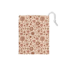 Retro Sketchy Floral Patterns Drawstring Pouches (Small)
