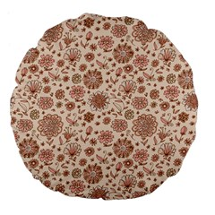 Retro Sketchy Floral Patterns Large 18  Premium Flano Round Cushions