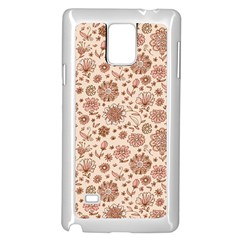 Retro Sketchy Floral Patterns Samsung Galaxy Note 4 Case (White)