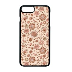 Retro Sketchy Floral Patterns Apple Iphone 7 Plus Seamless Case (black)