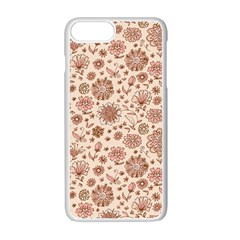 Retro Sketchy Floral Patterns Apple Iphone 7 Plus White Seamless Case