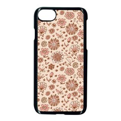Retro Sketchy Floral Patterns Apple iPhone 7 Seamless Case (Black)
