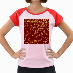 Background Design Leaves Pattern Women s Cap Sleeve T Shirt