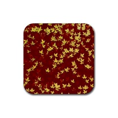 Background Design Leaves Pattern Rubber Square Coaster (4 pack)