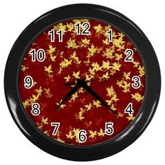 Background Design Leaves Pattern Wall Clocks (Black)