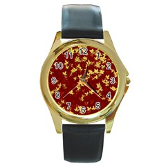 Background Design Leaves Pattern Round Gold Metal Watch