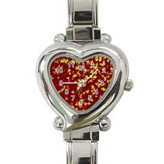Background Design Leaves Pattern Heart Italian Charm Watch