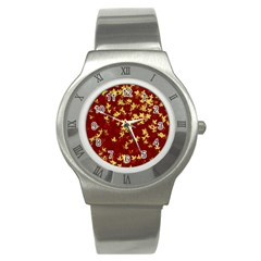 Background Design Leaves Pattern Stainless Steel Watch