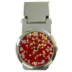 Background Design Leaves Pattern Money Clip Watches
