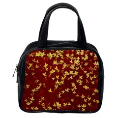 Background Design Leaves Pattern Classic Handbags (one Side)