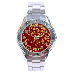 Background Design Leaves Pattern Stainless Steel Analogue Watch