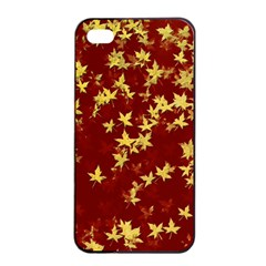 Background Design Leaves Pattern Apple iPhone 4/4s Seamless Case (Black)