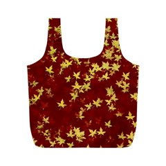 Background Design Leaves Pattern Full Print Recycle Bags (M)